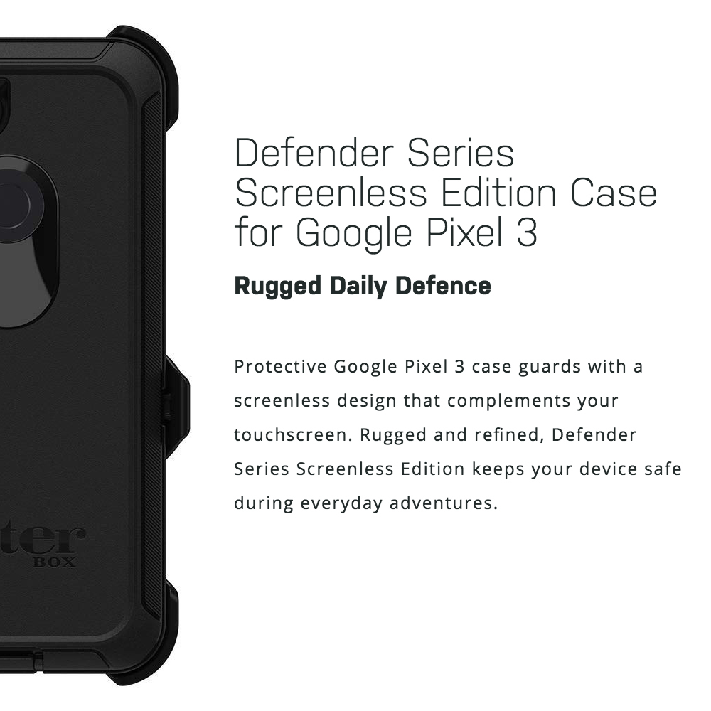 best service 923f3 9bcf6 OtterBox Defender Case for Google Pixel 3 (Black)